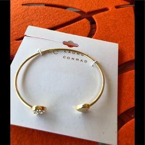 LC Lauren Conrad/Gold tone Diamond ❤️Cuff Bracelet